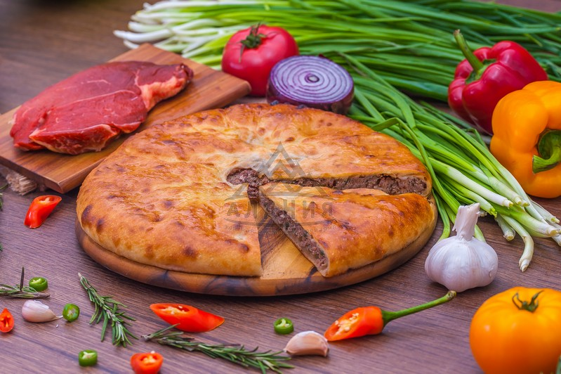 Pie with juicy veal, greens and hot pepper (Halal) - alania.com.ua